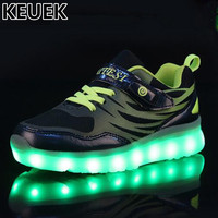 Nova criança brilhante tênis estudante led luz sapatos crianças meninos meninas usb luminosa malha sapatos crianças iluminado interruptor de carregamento 04|led light shoes kids|children glowing sneakers|light shoes kids -
