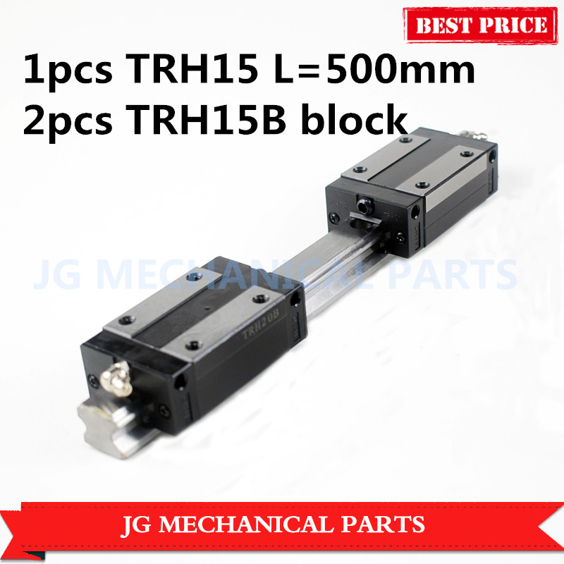 15mm width linear guide rail TRH15 500mm length+2pcs TRH15B carriages Slider Block Square block for CNC parts large format printer spare parts wit color mutoh lecai locor xenons block slider qeh20ca linear guide slider 1pc