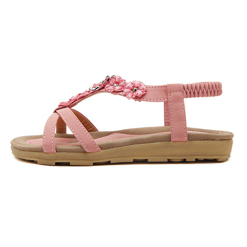 ea45e0765e3 New 2018 Summer Flat Sandals Women Flowers Elastic Band Shoes Open Toe T  strap Fashion Indoor Casual Shoes Bohemia Style 35 41-in Women s Sandals  from Shoes ...