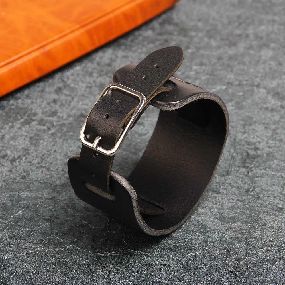 UBEAUTY винтажный подлинный панк кожаный широкий браслет рок воловья кожа браслеты повседневные мужские черные и коричневые ювелирные аксессуары
