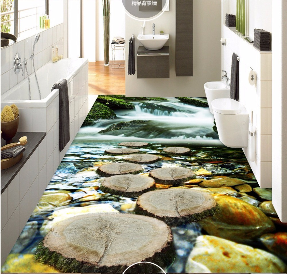 цена  Free Shipping Cascade Creek 3D floor painting wear non-slip thickened clothing store study flooring wallpaper mural  онлайн в 2017 году