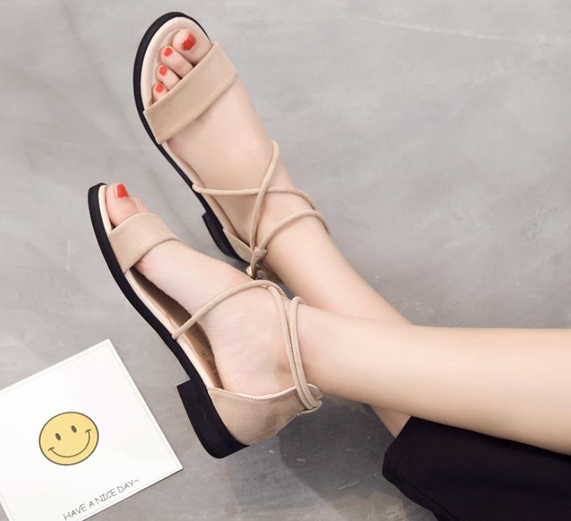 2018 summer new strap flat with ladies sandals open toe flat simple women's shoes 5
