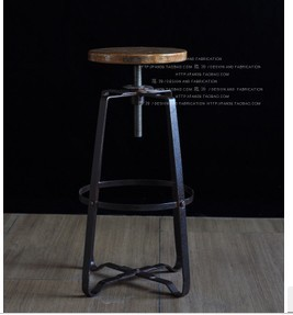 Vintage French Industrial Design Iron Chair Rotating Lift Bar Stool Bar  Chairs Bar Stool