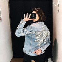New 2018 Spring Autumn Europe Top Fashion Womens Jeans Coat Brand Design Pearls Embroidery Female Cute