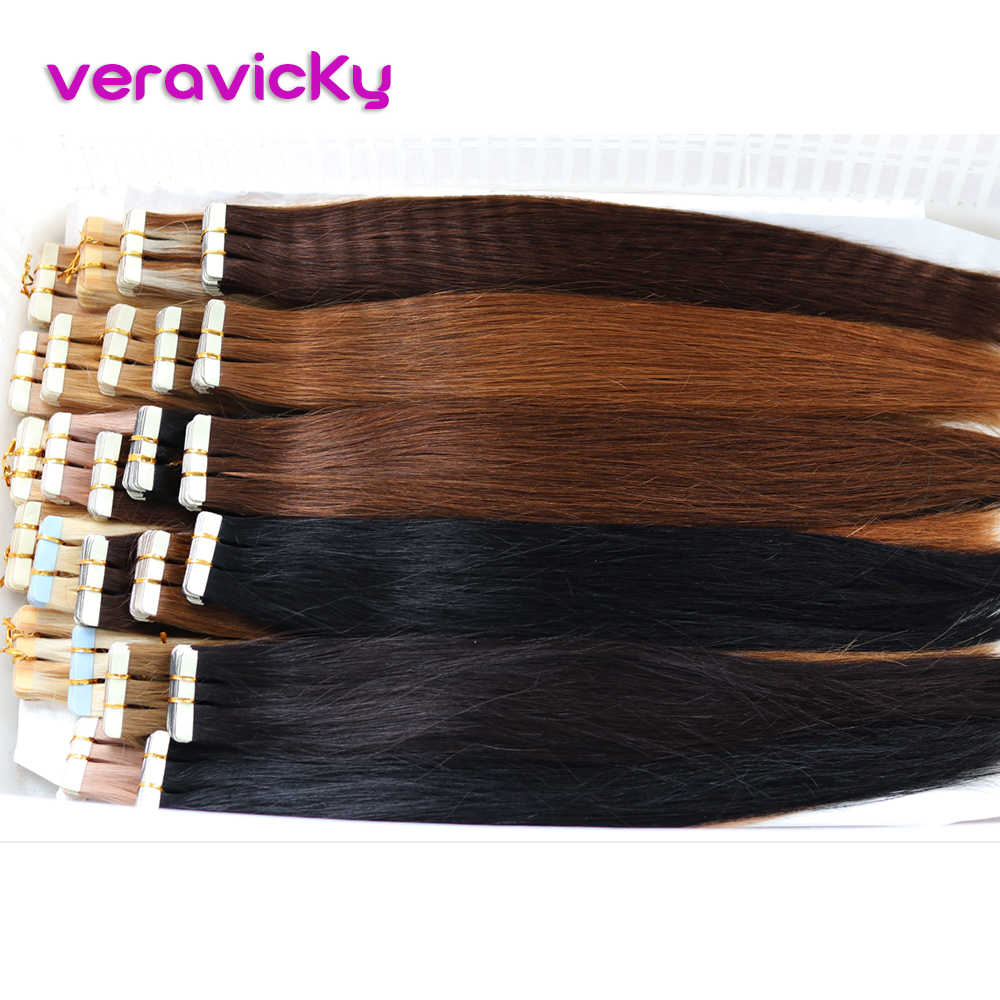 Tape in Natural Real Human Hair Extensions Balayage Straight Remy Hair Seamless Skin Weft  Adhesive European Hair Extension
