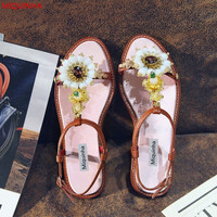 Miquinha Brand Embossed Leather Crystal Floral T Strap Women Flat Sandals Gold Decoration Red Diamond Open