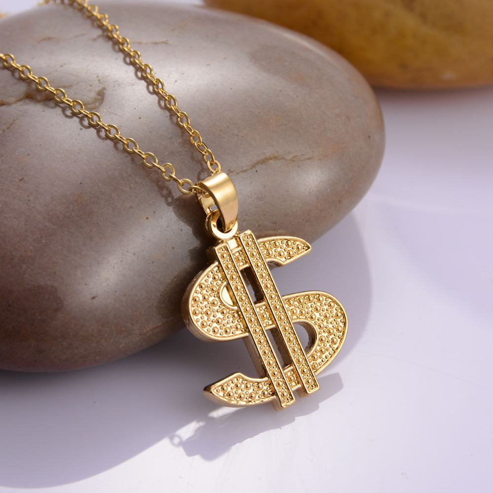 Gold color Hip Hop Dollar Sign chain Dollar With Rhinestone Pendant Necklace Jewelry NC
