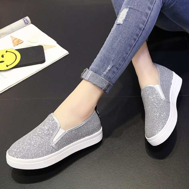 331e9ab5fa Spring Women Flats Platform Shoes Woman Loafers Slip on Flat Shoes Silver  Casual Shoes Glitter Black Loafer zapatos mujer 6762