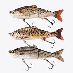 DONQL Minnow Wobblers Fishing Lure 4 segmenty 15.2cm 35g twarda przynęta Wobblers dla szczupaków wędkarstwo z 3D Eyes Treble Hooks w Przynęty od Sport i rozrywka na