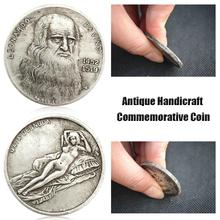1pcs Leonardo Da Vinci Commemorative Coin Antique Imitation Handicraft Silver Collection