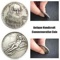 1pcs Leonardo Da Vinci Moneta Commemorativa Imitazione Antico Artigianato In Argento Da Vinci Moneta Commemorativa Collezione