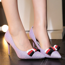 Shoes for Ladies Spring Shoes Sweet Girl Pointed Toe Bowtie Wedding Party Women Pumps 9cm Thin High Heels