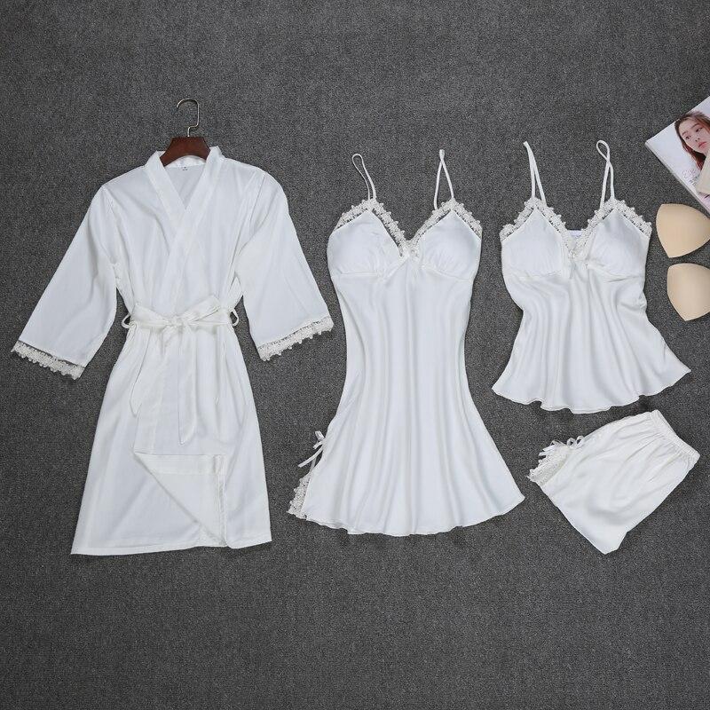 Fashion Robe Set 4 Pieces Robe+Nightdress+Top+Shorts Silk Satin Bathrobe Set Summer Sleepwear Lace Nightwear Set For Women