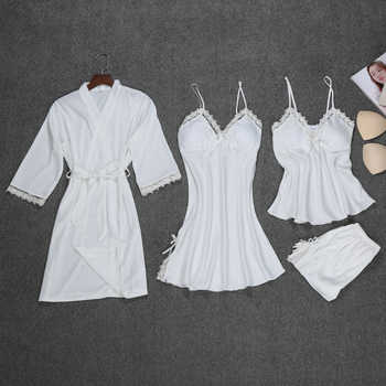 Fashion Robe Set 4 Pieces Robe+Nightdress+Top+Shorts Silk Satin Bathrobe Set Summer Sleepwear Lace Nightwear Set For Women - DISCOUNT ITEM  42% OFF All Category