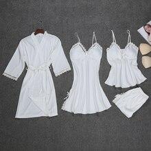 Thời trang Áo Choàng Thiết 4 Cái Robe + Nightdress + Top + Quần Short Silk Satin Áo Choàng Tắm Thiết Lập Mùa Hè Ngủ Ren Quần Áo Ngủ thiết Cho Phụ Nữ