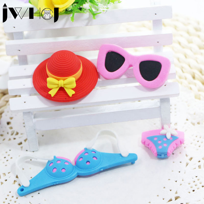 3pcs/lot  Creative Sunglasses Sun Bonnet Bikini Shape Removable Eraser Stationery School Correction Supplies Kids Toy Gift