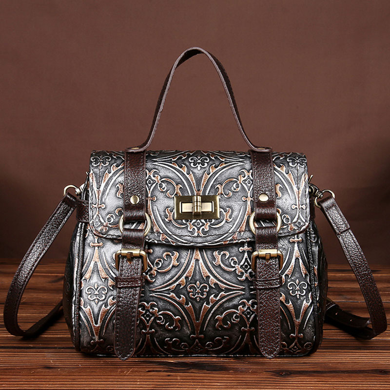 Women Cross Body Tote Bag Genuine Leather Single Shoulder Bag Vintage famous brand Messenger Bags Embossed Pattern Handbags new women vintage embossed handbag genuine leather first layer cowhide famous brand casual messenger shoulder bags handbags
