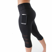 Black Leggings Women  Patchwork Mesh Capri High Waist Fitness Sporting Leggingswith Pocket Mid-Calf Trousers Jegging