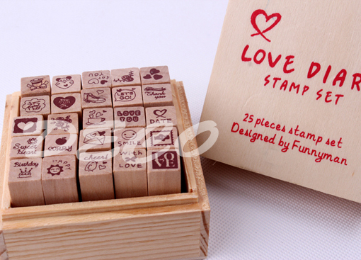1set/lot Love Diary wooden stamp set Wood box DIY funny work stamp Kids office school supplies(ss-1510) she love teacher stamp self inking rubber stamp school homework reward education praise scrapbooking cartoon kids stamp