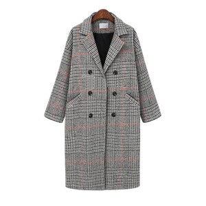 Image 3 - Hodisytian Cardigan Long et épais, mélange de laine à carreaux pour femmes, manteau en cachemire, grande taille 4XL, mode hiver décontracté coton