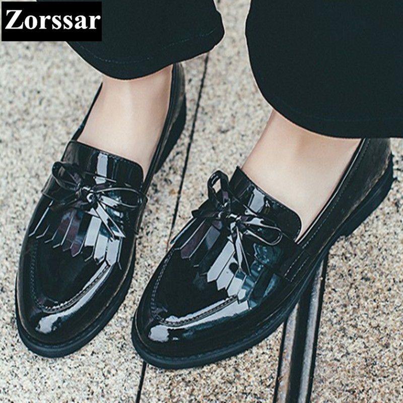 ФОТО Patent Leather pointed Oxford Shoes Women Flats Shoes Brand Designer 2017 Fashion Tassel Summer shoes Womens Flat Leather Shoes