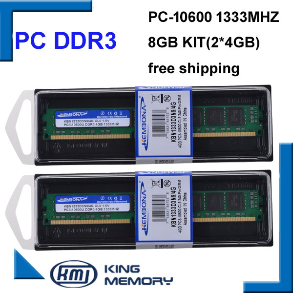 KEMBONA Desktop Computer DDR3 1333Mhz 8GB (Kit Of 2,2X 4GB) PC3-10600 KBN1333D3N9/4G Brand New LONGDIMM Memory Ram Memoria Ram