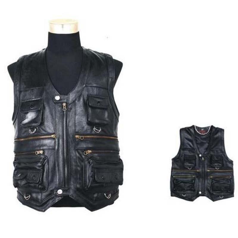 Autumn Winter New Men Waistcoat Genuine Leather Leisure Reporters Suit Than Pocket Quinquagenarian Men Cow Leather Vest Tops