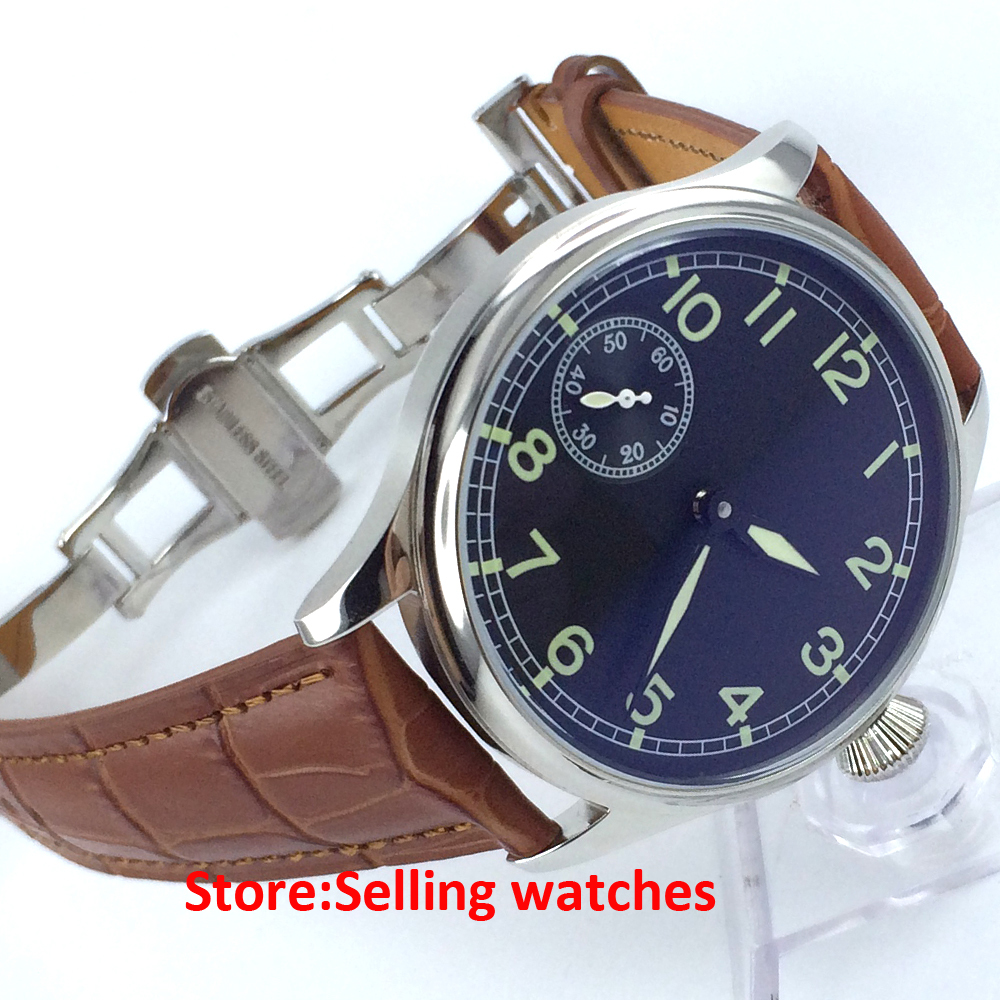 44mm Parnis Pilot Style Sterile Black Dial Special 9 Hand Winding 6497 Men font b Watch