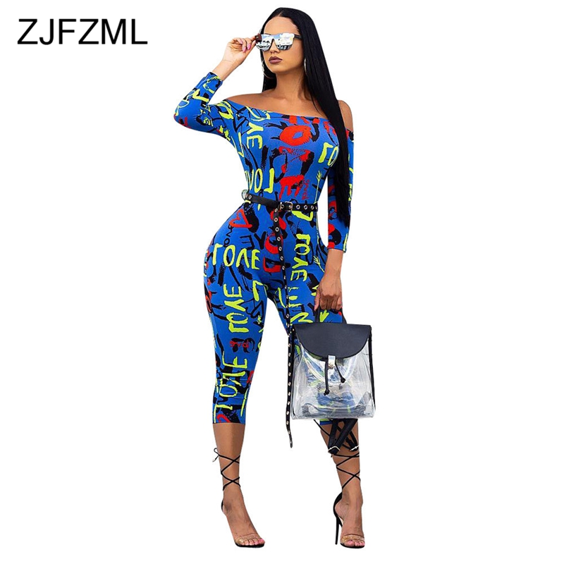 Colorful Letter Printed Sexy Bodycon   Jumpsuit   For Women Slash Neck Off The Shoulder Party Catsuit Streetwear Long Sleeve Romper
