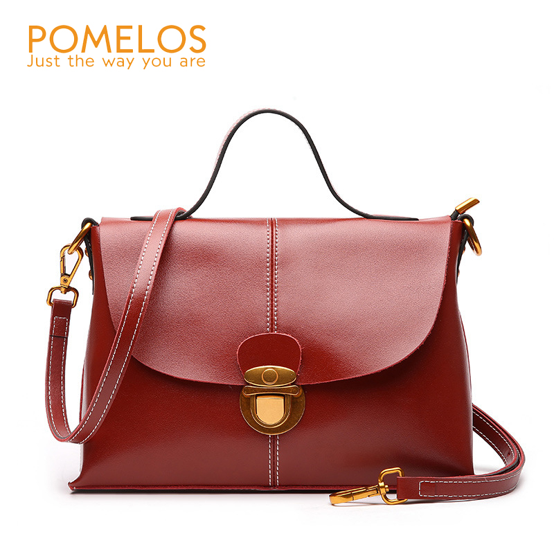 POMELOS Women Fashion Genuine Leather Handbag Ladies Cover Shoulder Bag Purse Female Luxury Designer Messenger Crossbody Bags crossbody bag handbag 2018 new brand designer messenger bags genuine leather women s female fashion woman chains bag shoulder