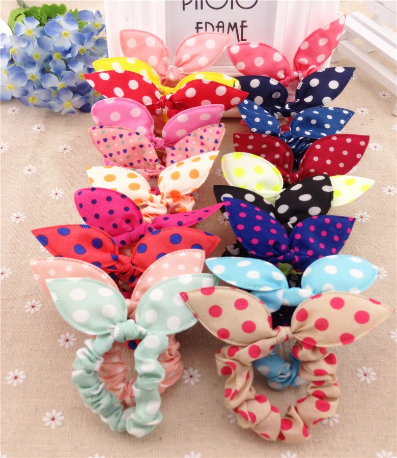 HTB16q8JKXXXXXaXXpXXq6xXFXXX7 Cute Polka Dot Rabbit Ears Hair Tie For Women - Various Styles