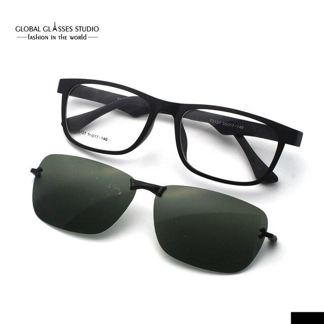 e4bc04a9f63 Free Shipping Magnetic Polarized Sunglasses Clip-on Design Sunglasses Ultra  Light Eyeglasses Rx Available F5127