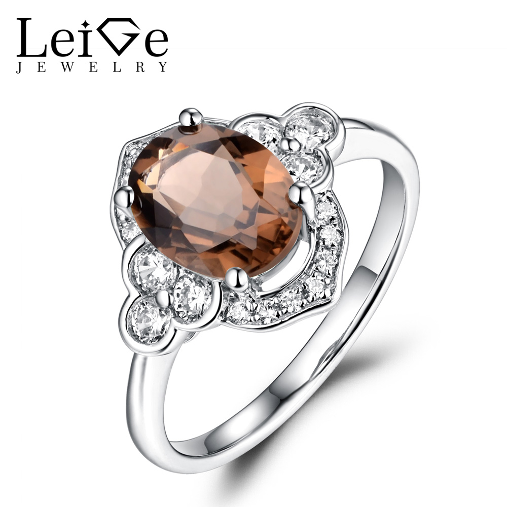 Leige Jewelry Oval Smoky Quartz Ring Wedding Engagement Promise Rings for Women Sterling Silver 925 Fine Jewelry Brown Gemstone men wedding band cz rings jewelry silver color anillos bague aneis ringen promise couple engagement rings for women