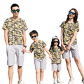 Free Shipping New Summer family mother daughter father son sets Family Matching Outfits cotton flower T shirt + Gray Pants