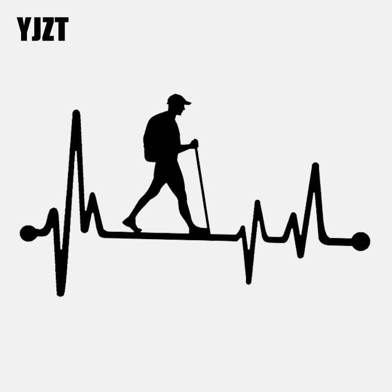 YJZT 16.6 CM * 9.5 CM בחור טיולים טיולי דופק עורק חיים ויניל שחור/כסף רכב מדבקת C22-1106