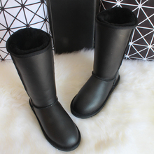 New Winter Knee High Classic Snow Boots Australia Sheepskin Boots Natural Wool Sheep Fur Genuine Leather Women's Long Boots 2018 australia style women genuine sheep leather and real fur boots winter women snow boots two diamond bows winter boots