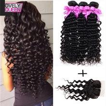 Grade 7A Brazilian Deep Wave 3 Bundles With 1 Lace Closure Brazilian Human Hair Curly With Closure Braziian Hair Weave Bundles