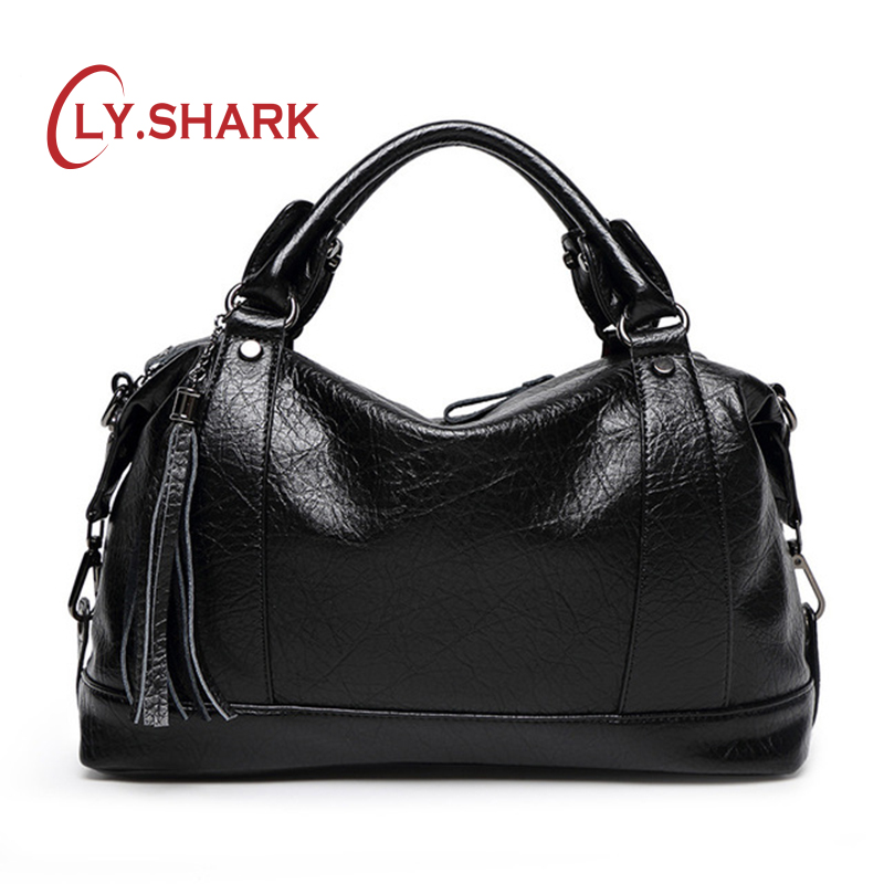 LY.SHARK Boston Women Bag Tassel Ladies Leather Bag Women Messenger Bags Handbags Famous Brand Designer Bag Totes Female Handbag bailar cartoon minnie mouse totes messenger women handbag biki bag sequined embroidery famous brand leather female bolsa j017