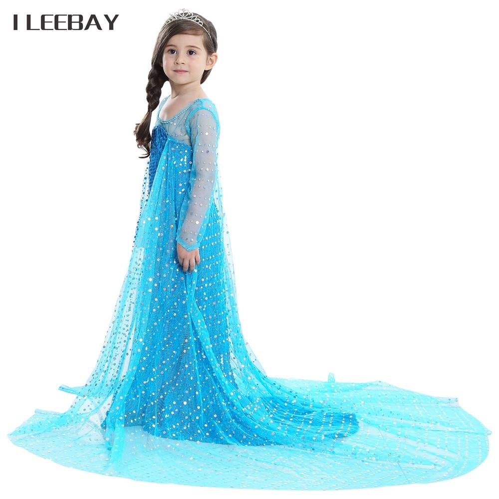 Floor Length Girls Elsa Anna Princess Dresses Snow Queen Costume ...