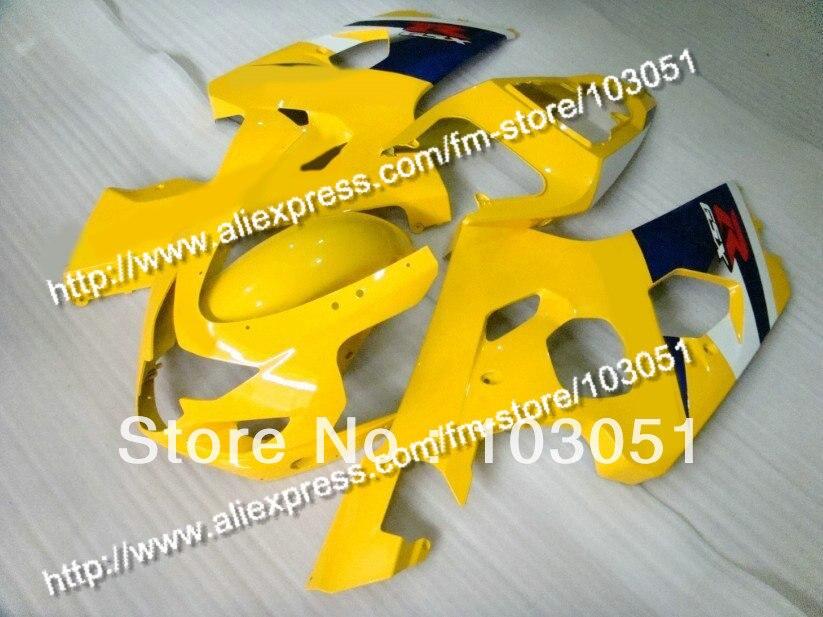 bodywork for SUZUKI 2004 GSXR 600 fairing K4 2005 GSXR 750 fairings 04 05 glossy yellow black DB82 bodywork fairing set e for suzuki gsxr600 750 k4 2004 2005 black painted abs new [ck114]