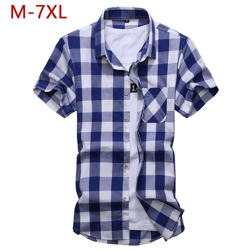 M-7XL Plus Size Male Summer 100% Cotton Shirts Fashion Short Sleeve Mens Lattice Dress Shirt Regular Fit High Quality Blouse