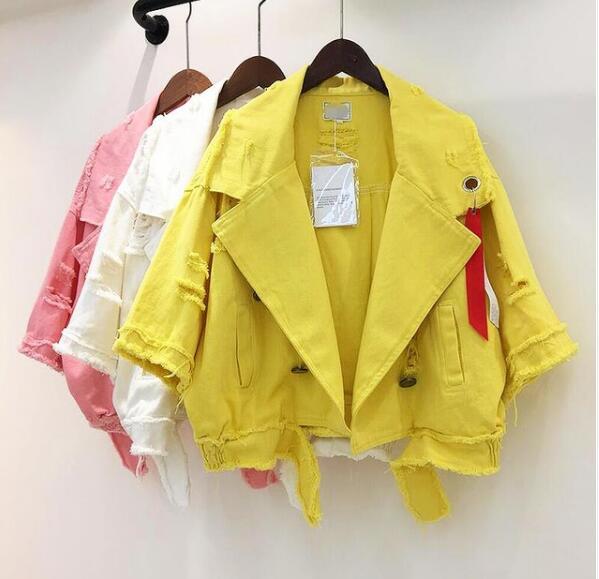 Déchiré White pink Couleur Veste Unie 2018 Jeans Outwear Mode Trou De Printemps yellow Lâche Courte Manteau Ruban Nouveau Revers Femmes Denim wRwqABFp7