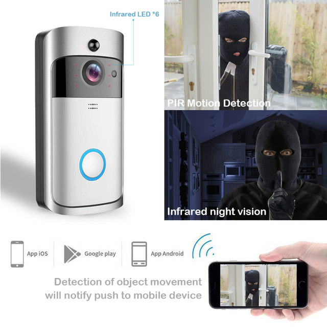 ZWN Smart Wireless Wifi Video Doorbell Intercom 720P Phone Call Door Bell Camera Infrared Remote Record Home Security Monitoring 3