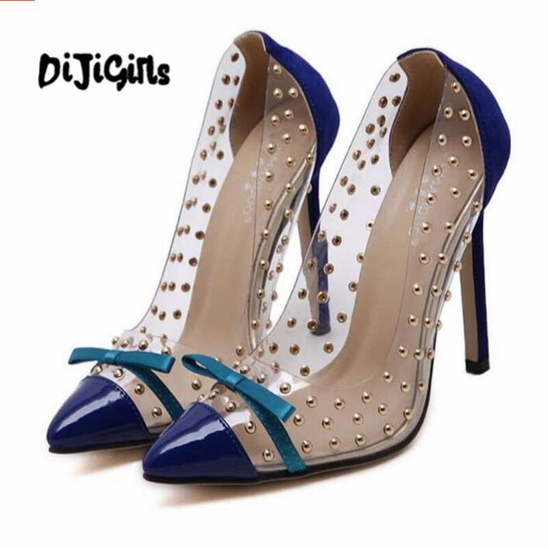 Rivets High Heels 2017 Summer New Transparencies High Heels Brand Shoes Pointed Toe Women Pumps Sapato Feminino Shoes Plus Size new 2017 spring summer women shoes pointed toe high quality brand fashion womens flats ladies plus size 41 sweet flock t179