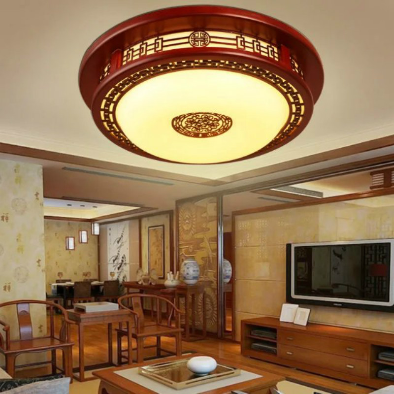 Vintage Chinese sculpture red wood LED ceiling light fixture home deco living room round antique acrylic ceiling lamps 110 240V