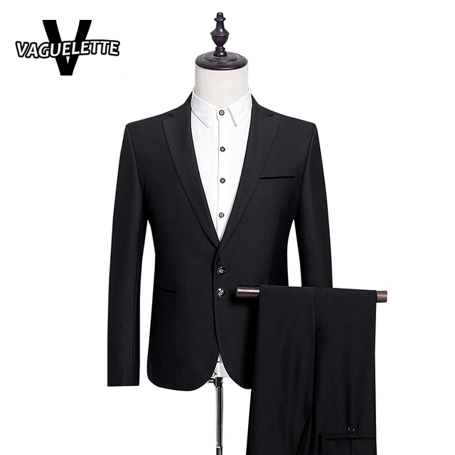 (Chaqueta + Pantalones) Traje De Hombre Boda GentlemenTuxedos Sólido Negro Clásico  Para Hombres Slim 90555c28984