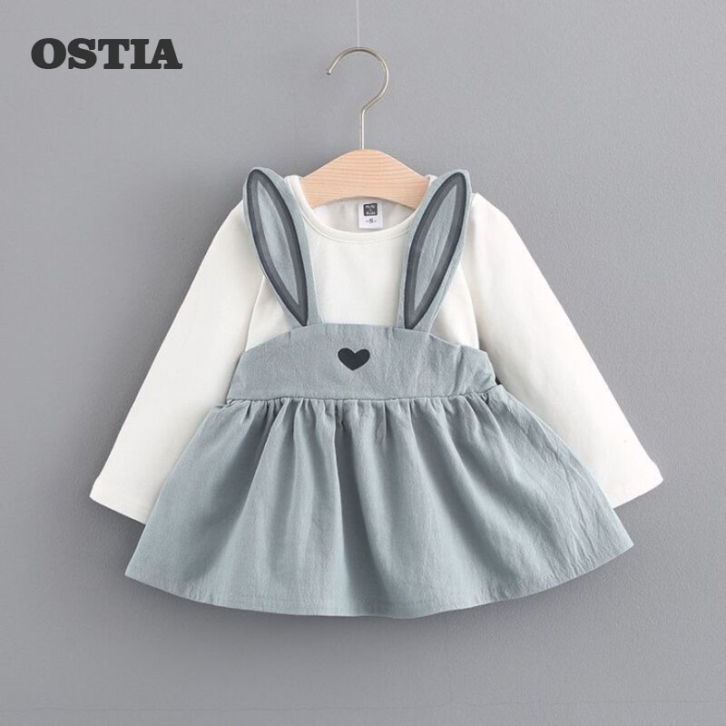 OSTIA 2018 New Brand Baby Dresses Long Sleeve Rabbit embroidery Party Prom Bebes Girls Clothes Fashion Toddler Clothing D07