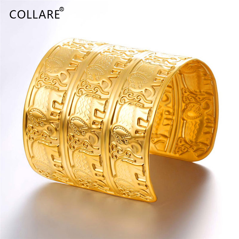 Collare Big Cuff Bracelet Elephant 316L Stainless Steel Three Layer Bangles GoldBlack Color Cuff Hip-hop Rapper Jewelry H207