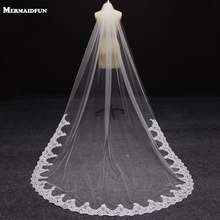 2016 New 3 Meters One Layer Lace Edge Wedding Veil Cathedral 3 M Bridal Voile Mariage Wedding Accessories