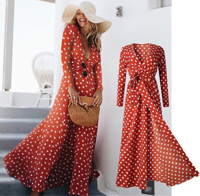 bb5b8bf374012f 2019 herbst Frauen Langen Ärmeln Polka Dots Kleid Tiefe V-ausschnitt Retro  Vintage Lange Maxi Kleid